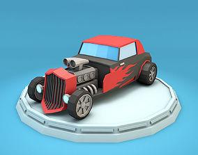 Cartoon Hot Rod Racing Car 3D model