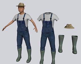 Old Asian Farmer 3D