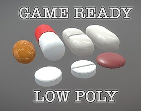 3D asset Medicine Pills Sortiment low poly game ready