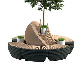 Parametric modern bench 3D model