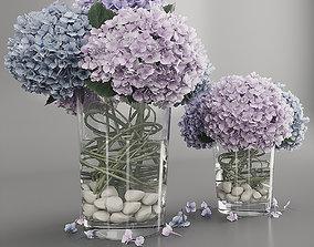 3D Hydrangea purple blue