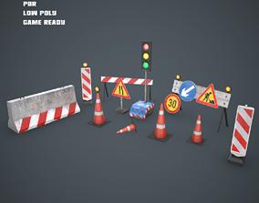 Roadworks traffic signs set 3D asset VR / AR ready