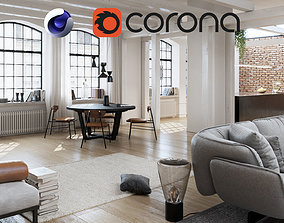 Workshop Apartment in London Cinema 4D and Corona 3D model
