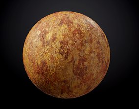 Metal Rusted Yellow Red Seamless PBR Texture 3D