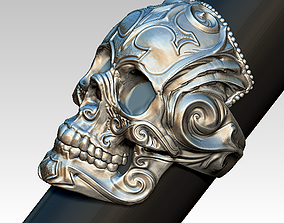 3D printable model Carved Sculpted Skull Jewel Ring High
