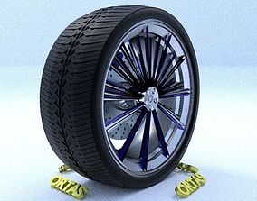 ORTAS CAR RIM 34 GAME READY RIM TIRE AND DISC 3D model