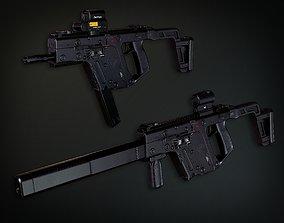 3D model Lowpoly PBR Vector Submachine Gun