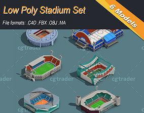Low Poly Stadium Set 3D model
