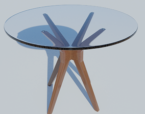 3D asset realtime Glass table wood