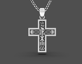 Chi Rho two sided Cross with optional 3D printable model 1