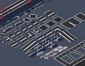 Roads Rooftop Street Elements 3 in 1 3D model