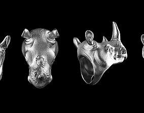 3D printable model Rhinoceros ring