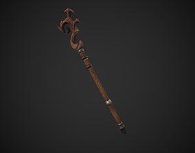 3D asset Stylized Wooden Druid Staff