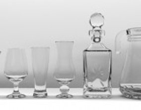 3D Glassware Collection 20 Pieces