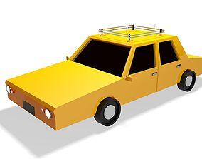 VR / AR ready Low Poly Taxi Car 3d Model