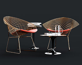 3D model Knoll Bertoia Diamond Chair and Saarinen Side