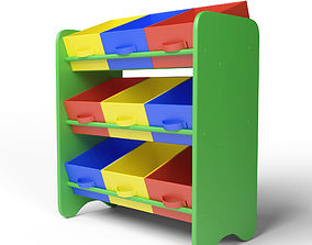 girl Kids Storage Box Shelf System -Boys 3D