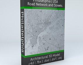 3D model Philadelphia Road Network and Streets