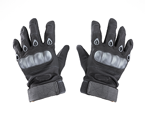 Military gloves of color black with PBR textures 3D asset