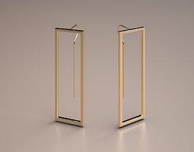unique gold rectangle minimal earrings model