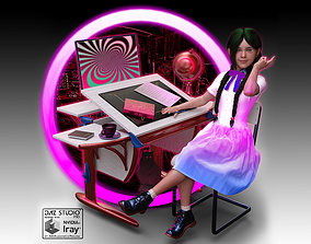 Nabis School desk 3D model animated