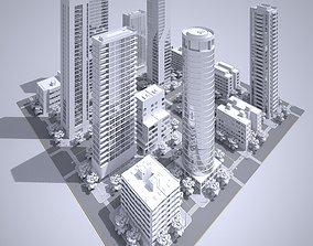 3D model skyline city block