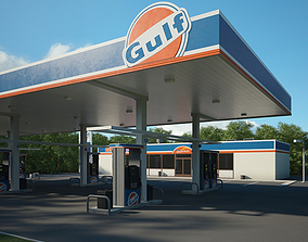3D model Gulf gas station 001