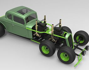 Hot rod six-wheeled 3D