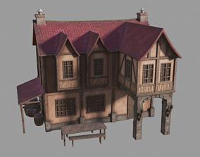 3D model VR / AR ready Medieval inn
