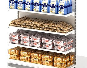 Grocery Store Shelf With Baking Goods 3D