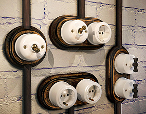 3D model Sockets and switches in loft style brick