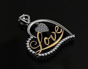 love pendant necklace 3D printable model