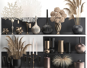 Collection of decor dried flowers on a shelf 3D