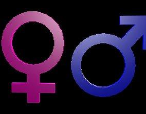Symbols gender voxel 2 3D