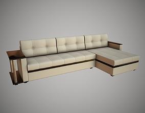 3D asset Corner sofa cream color