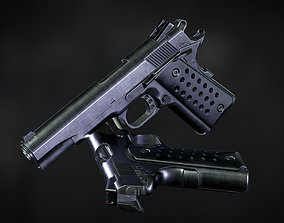 Colt 1911 low-poly Game ready 3d model and low-poly
