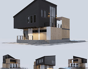 3D Modern house with a swimming pool