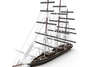 Wood Antique Sailing Boat 3D model