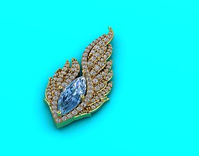Pendant with marquise stone 3D print model