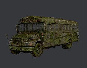Apocalyptic Damaged Destroyed Vehicle School 3D asset 3