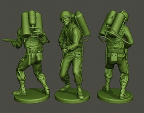 3D printable model American soldier ww2 fire A6