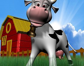 3D asset cartoon Cow Rigged