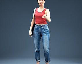 3D model Girl in Baggy Jeans Red Top Shaking Hands