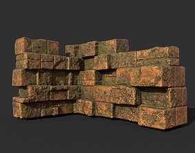 3D asset Low poly Terracotta Ruin Medieval Construction 06
