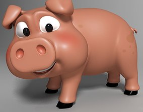 Cartoon Pig Rigged 3D model animated