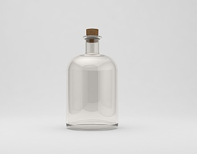 blank 3D model glass bottle