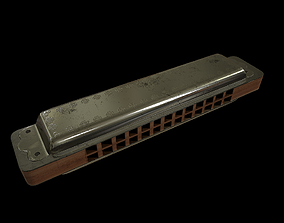 Lowpoly Vintage Harmonica 3D asset