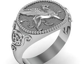 3D printable model signet ring for men griffin