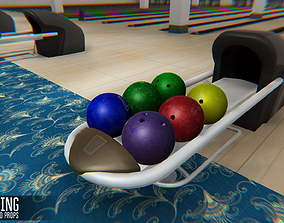 Bowling - interior and propsBowling - interior 3D asset 2