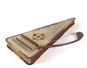 3D asset Psaltery music instrument